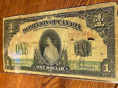 1917 Dominion Of Canada One Dollar Well Used
