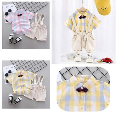 Toddler Infant Baby Boys Summer Outfit Kids Plaid Shirt + Suspender Shorts Set