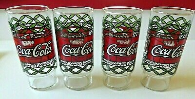 Lot of 4 vintage Enjoy Coca-Cola Drinking Glasses Tiffany Style Stained Glass