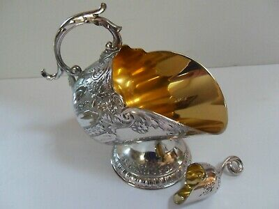 Vintage Silver Plate Sugar Bowl Scuttle Nut Mint Snack Dish Small Scoop Leonard