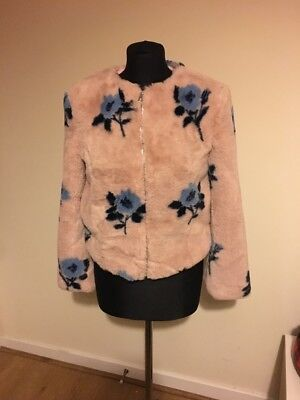 Zara Faux Fur Floral Super Soft Short Coat Jacket Pink BNWT Size XS