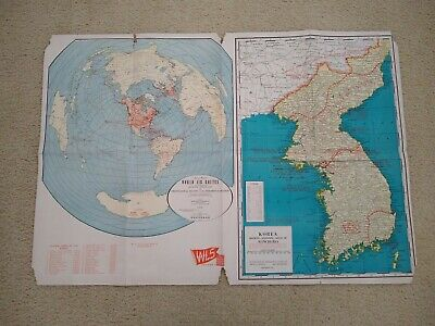 1951 Map Of Proposed World Air Routes & Korea / Manchuria Map WLS Chicago