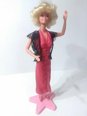 1966 Mattel Barbie Doll Blond American Girl Red Dress Lace Cardigan Shoes Stand