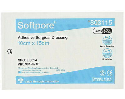 5 x Softpore Adhesive Surgical Dressings Sterile 10x15cm Cuts Burns Wounds