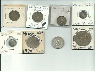 Lot Of 8 Vintage Foreign Silver World Coins -Free Usa Shipping