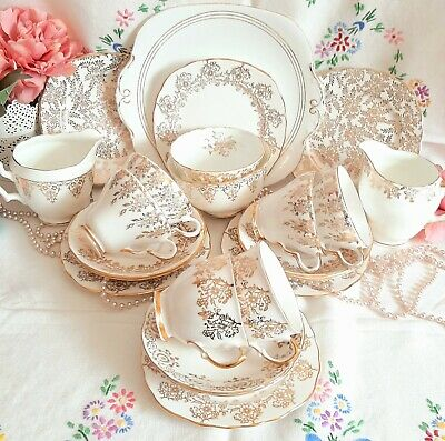 Mismatched Vintage Gold & White China Tea Cups Saucers Plates Set Wedding Party