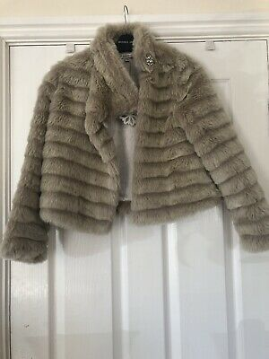 M&S Autograph Girl Cream/Blonde~Faux Fur Jacket Worn Once Age 11-12 Yeara