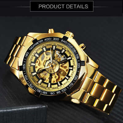 Men's Luxury Gold Tone Skeleton Stainless Steel Automatic Mechanical Wrist Watch