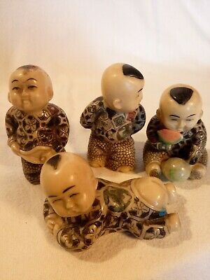 Vintage Set Of Chinese Japanese Little Boys Four Figurines Joblot Original
