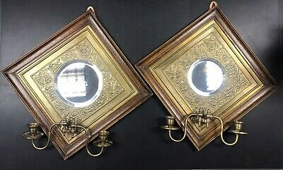 Antique Mirror Wall Brass Sconce In Wooden Frame Edwardian