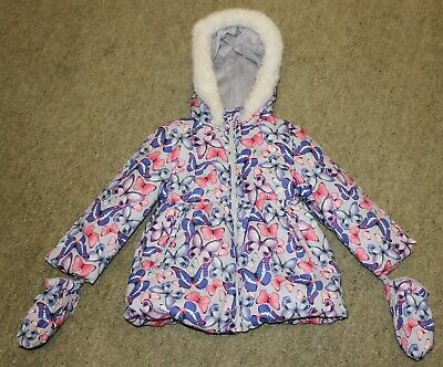 Marks and Spencer Faux Fur Lined Butterfly Print Thermal Coat Age 3-4