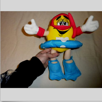 "Large Stuffed M&M Character Sports Snorkel Swimmer Diver Yellow 13"" Plush Doll"