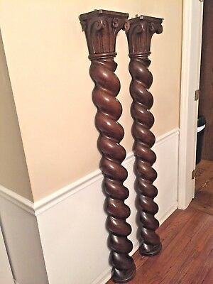 Rococo Style Carved Columns A Pair Walnut Finish Scroll & Rose Carved