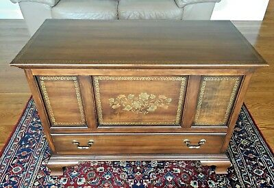 Hitchcock Chippendale Style Diminutive Walnut Blanket Chest Gold Stencil Decor