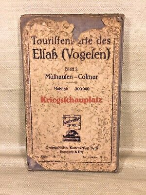 Old German Colored Foldable Cloth Map Kriegsfchauplatz by Karten-Verlag of Bern