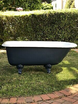 Original Antique Restored Roll Top Cast Iron Bath With Claw Feet