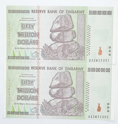 2 Consecutive 50 TRILLION Dollar Zimbabwe Uncirculated Notes 2008 Authentic *625