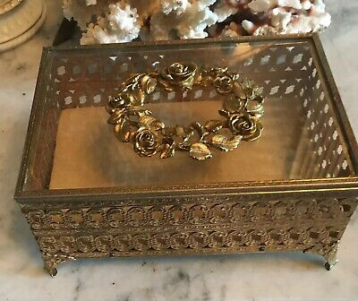 Vtg Vanity Brass Filigree & Glass Wreath Top Footed Jewelry Box