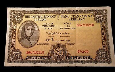 1970 CENTRAL BANK IRELAND 5 POUNDS Banknote, Nice, Fancy #710-720 / Date 27-2-70