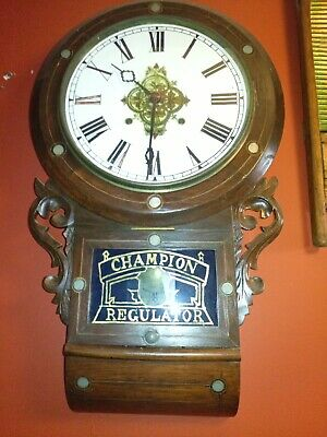 Antique 8 Day Inlaid Wall Clock champion regulator clocks