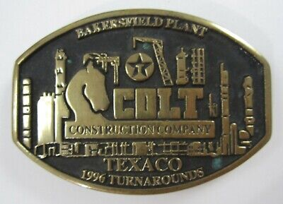 Bakersfield Texaco Refinery Colt Construction Belt Buckle Anacortes Brass 1996