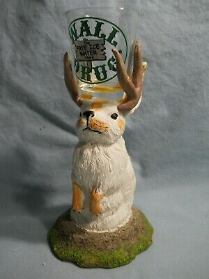 Vintage Famous Jackalope Wall Drug Statue Attached Shot Glass Resin Painted 7""