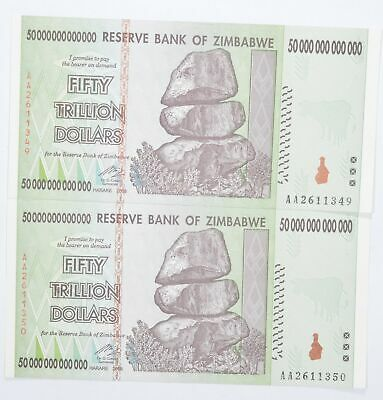 2 Consecutive 50 TRILLION Dollar Zimbabwe Uncirculated Notes 2008 Authentic *624