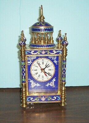 """Vintage French Style Cloisonne Mantle Clock Enamel And Brass 12""""Hs 4.5' X 5.5"""""""