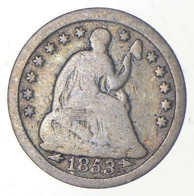 5c **1/2 Dime HALF** 1853 Seated Liberty Half Dime Early American Type Coin *243