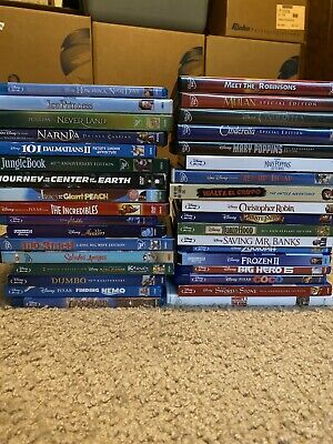 Disney Blu Ray & Dvd Movies Lot Of 35 Titles, Cinderella, Mary Poppins, Frozen 2