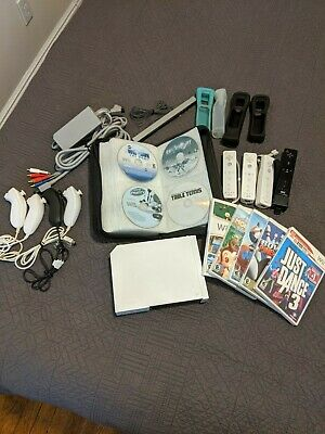 Nintendo Wii White Console System Bundle with 4 Remotes & Nunchucks and 9 Games