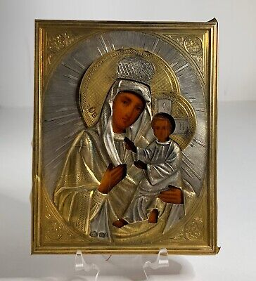 Russian Icon, W/ Silvered & Gilt Oklad, Depicting The Mother Of God