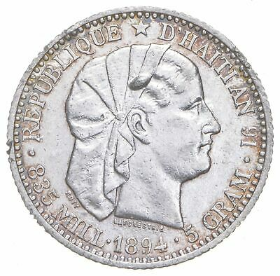 SILVER - Roughly Size of Quarter - 1894 Haiti 20 Centimes World Silver Coin *045