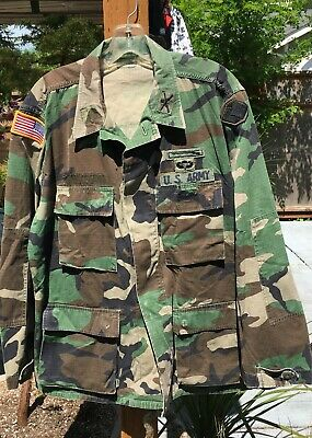 1991 US Army 96TH SUSTAINMENT BRIGADE Hot Weather Woodland Camo Jacket Med-Reg