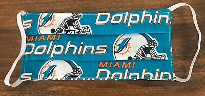 MIAMI DOLPHINS  Face Mask Hand Made Adult NFL 100% Cotton 2-sided Washable