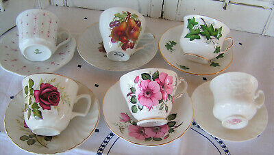 Lot of 6 Vintage Tea Cups and Matching Saucers Tea Party