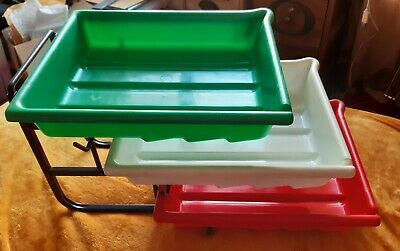 "Darkroom Developing Trays- Set of 3,10"" x 8"" with stand & 2 Paterson print tongs"