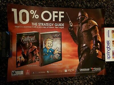 Fallout New Vegas 2 sided Store Display Poster Bethesda 2010 Promo PS3 XB360