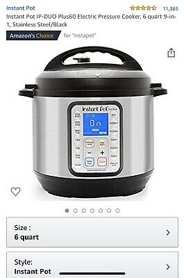 Instant Pot 9-in-1 Duo Plus 60 Programmable Electric Pressure Cooker