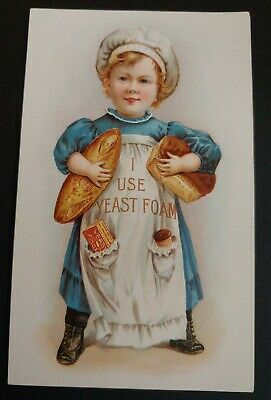 Trade Card YEAST FOAM BREAD RAISER, MAKES PERFECT BREAD! - YOUNG BOY WITH LOAVES
