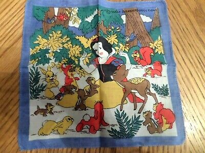 Vintage Disney Snow White with animals  Handkerchief Child Hankie Sweet disney