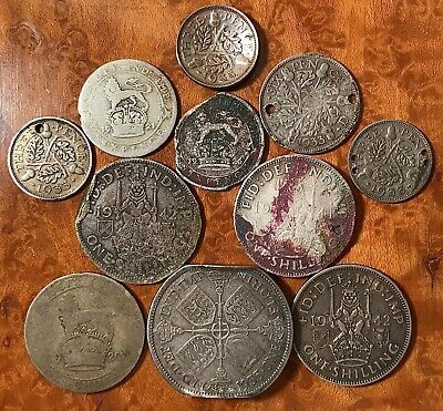 Great Britain 50% Silver Cull Coin Lot,11 coins 1920-1942 UK 1.5 oz GeorgeV & VI