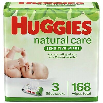 Huggies Natural Care Fragrance Free Soft Pack Wipes - 3 Pack (168 Count)