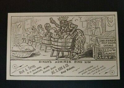 Trade Card JAMES S KIRK RELIABLE SOAPS, CHICAGO, 1881, DINAH'S ADMIRER FIND HIM