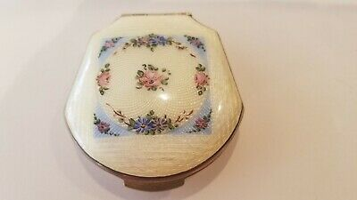 Vintage Enameled Guilloche Compact