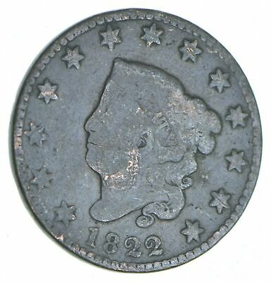 Tough - 1822 Matron Head Large Cent - US Early Copper Coin *267