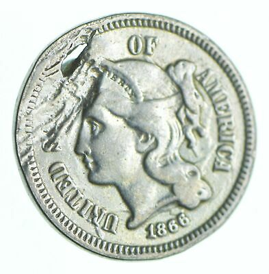 1866 Nickel Three-Cent Piece - Holed Coin Collection *979