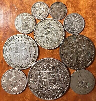 Great Britain 50% Silver Coin Lot with Crown UK 3 oz George V & VI, 10 coins