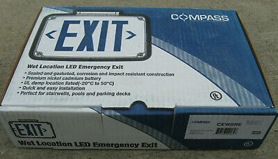 Compass Hubbell CEWSRE Red LED Battery Backup Wet Location Emergency Exit New