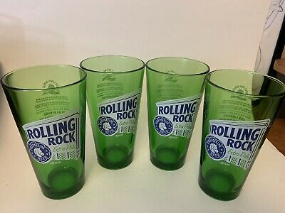 ROLLING ROCK Extra Pale Beer Glasses Green Old Latrobe 16 OZ  x 4